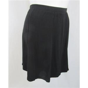 Susan Graver Size 1X Black Liquid Knit 8 Gore Pull-On Skort