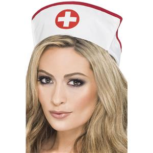 White Fabric Nurse Hat Red Cross Costume Accessory