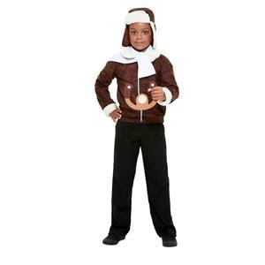 WW1 Child Aviator Pilot Costume Brown Large
