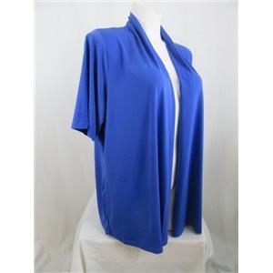 Susan Graver 3X Dazzling Blue Liquid Knit Elbow Sleeve OpenFront Cardigan w/Lace