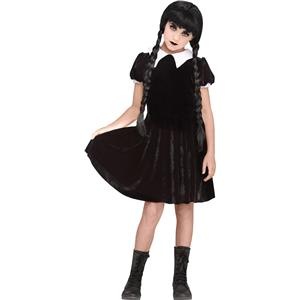 Gothic Girl Black Dress Wednesday Adams Child Costume X-Large 14-16