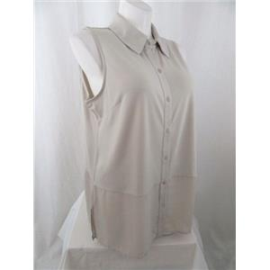 Susan Graver 3X Sandstone Premier Knit Sleeveless Top w/ Sheer Chiffon Detail