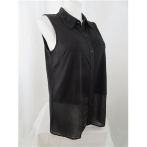 Susan Graver Size 2X Black Premier Knit Sleeveless Top w/ Sheer Chiffon Detail