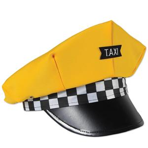 Taxi Cab Drivers Yellow Hat Costume Accessory Yellow/Black/White