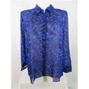 Susan Graver 1X Blue Printed Chiffon Button Front Shirt