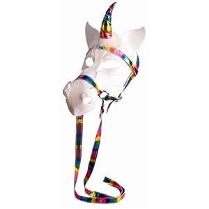 White Unicorn Horse Venetian Mask With Rainbow Bridle