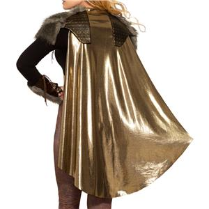 Valkyrie Viking Gold Cape with Shoulder Pads Costume Accessory