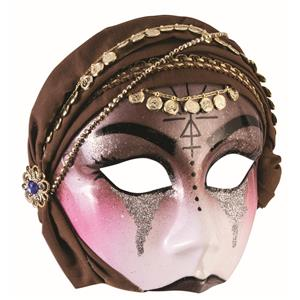 Gypsy Mystic Fortune Teller Half Mask with Brown Scarf Adult Venetian Mask