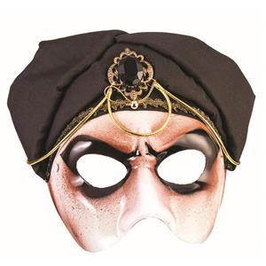 Gypsy Mystic Fortune Teller Half Mask with Black Scarf Adult Venetian Mask