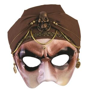 Men's Mystic Fortune Teller Half Mask with Brown Scarf Adult Venetian Mask