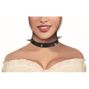 Black Spiked Choker Collar Necklace Costume Accessory