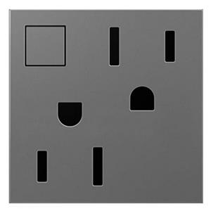 Legrand ARPS152M4 adorne Magnesium 15A Energy-Saving On / Off  Duplex Outlet