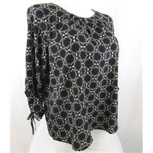 Liz Claiborne Size 3X Black Print 3/4 Sleeve Polyester Blouse