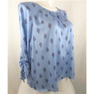 Liz Claiborne Size 3X Blue Print 3/4 Sleeve Polyester Blouse
