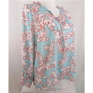 "Liz Claiborne Size 2X Aqua Print Long Sleeve V-Neck Blouse with 1.5"" Ruffle"