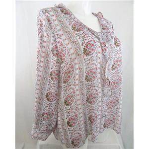 "Liz Claiborne Size 1X White w/Flowers Long Sleeve V-Neck Blouse with 1.5"" Ruffle"