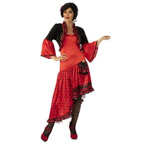 Spanish Dancer Red Senorita Adult Halloween Costume Small