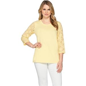 Denim & Co. Size 2X Yellow Perfect Jersey 3/4 Lace Sleeve Round Neck Top