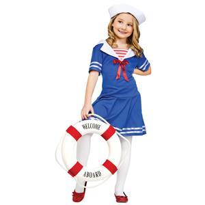 Sea Sweetie Sailor Girls Costume Dress and Hat Size Medium 8-10