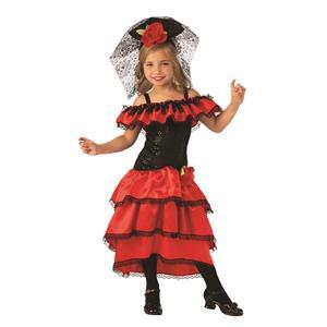 Red Spanish Senorita Dancer Girl Costume Medium 8-10