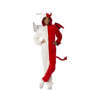 Angel Demon Devil Naughty Nice Costume Jumpsuit with Hood Size Large/X-Large