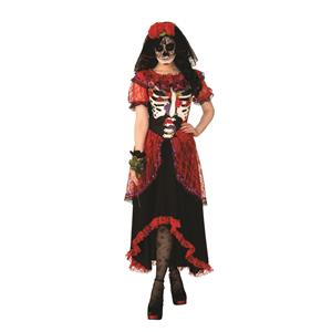 Day of The Dead Ballroom Skeleton Gown Adult Costume Medium
