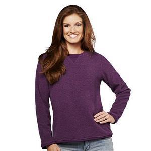 Denim & Co. Size 1X Plum Purple Textured Chenille Sweatshirt
