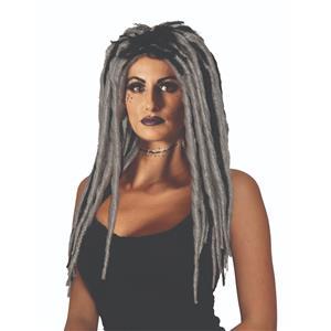 Voodoo Dreadlock Gray and Black Gothic Wig