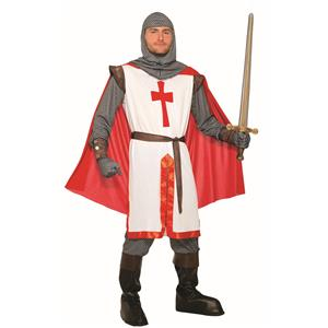 King Crusader Red and White English Knight Adult Costume