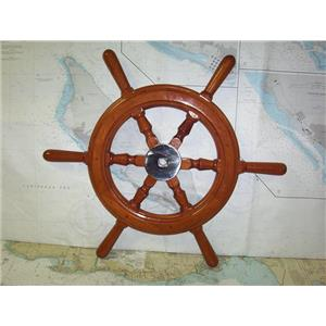 """Boaters' Resale Shop of TX 1909 1024.01 WOODEN 27"""" GRAND BANKS SHIPS WHEEL"""