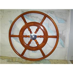 "Boaters' Resale Shop of TX 1909 1024.04 WOODEN 29"" GRAND BANKS SHIPS WHEEL"