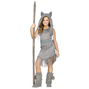 Wolf Dancer Native American Indian Grey Fringe Girls Costume Child Large 12-14