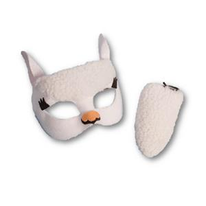 Child White Llama or Sheep Mask And Tail Costume Kit