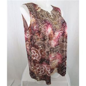 Catherines Size 1X Brown Print Polyester Embellished Tank