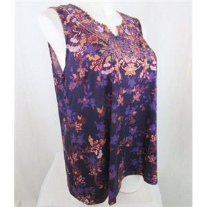 Catherines Size 2X Purple Print Polyester Embellished Tank