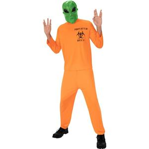 Area 51 Alien Escapee Green Mask and Convict Jumpsuit Adult Costume