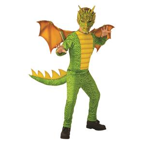 Green and Yellow Dragon Dinosaur Child Costume Medium 8-10