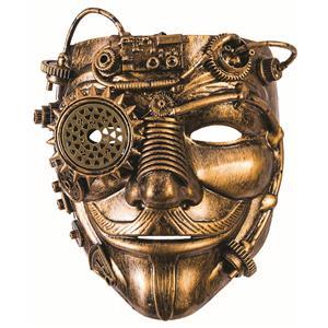 Steampunk Vendetta Man Gold Gear Mask With Mustache