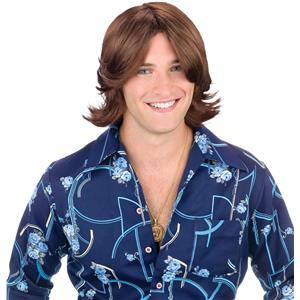 Fun World Men's Brown 70s Ladies Man Surfer Adult Costume Wig