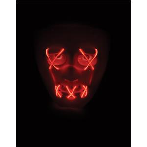 Scary Glowing Light up Purge Mask White Face with Glowing Red Wire