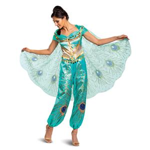Disney Princess Women's Jasmine Teal Deluxe Adult Costume Medium 8-10