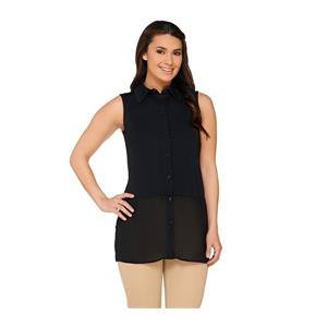 Susan Graver Size 3X Black Premier Knit Sleeveless Top w/ Sheer Chiffon Detail