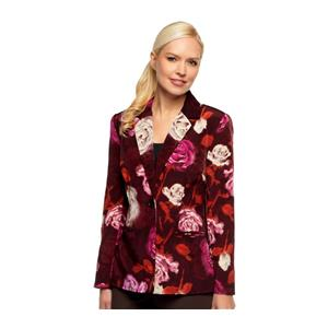 Susan Graver Size 1X Pink Flower Peachskin Polyester Single Breasted Blazer