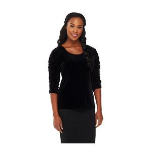 Susan Graver Size 1X Black Stretch Velvet U-neck Top with Ruched 3/4 Sleeves