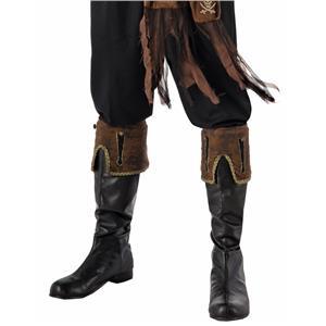 Men's Buccaneer Brown Pirate Boot Cuffs Costume Accessory