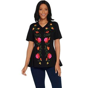 Studio by Denim & Co. Size 2X Black Fit & Flare Embroidered Tunic