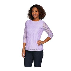 Denim & Co. Size 2X Lilac 3/4 Sleeve All Over Lace Top
