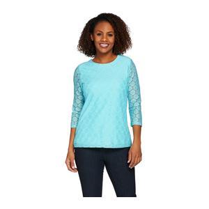 Denim & Co. Size 1X Light Aqua 3/4 Sleeve All Over Lace Top