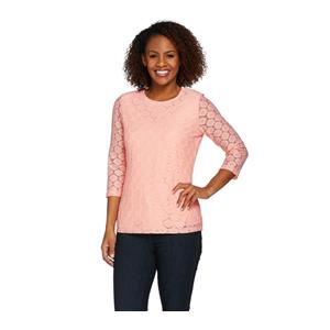 Denim & Co. Size 1X Soft Peach 3/4 Sleeve All Over Lace Top