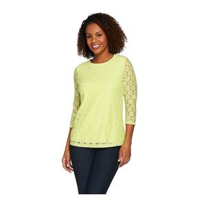 Denim & Co. Size 1X Soft Lime 3/4 Sleeve All Over Lace Top